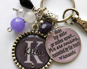 Personalized Cousin gift name sister aunt daughter nana grandma best friend side by miles apart we are cousins connected by the heart