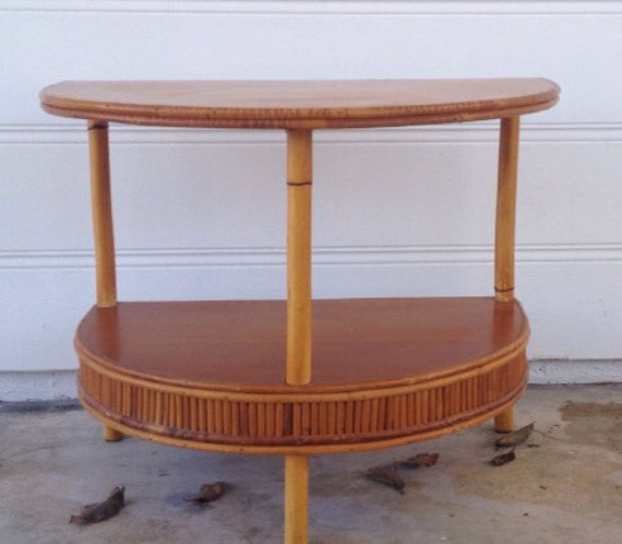 B M Rattan Coffee Table: Mid Century Modern Paul Frankl Tropitan Style Rattan Half Moon