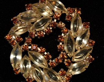 Vintage Rhinestone Brooch Amber with Topaz trim