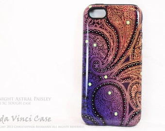 Paisley iPhone 5c Tough Case - Midnight Astral Paisley - Artistic iPhone 5c Case With Purple & Gold Paisley Art