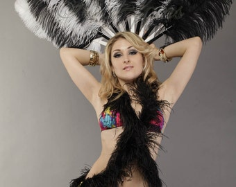 "Black and white single layer Ostrich Feather Fan Burlesque Dance 25""x45"""
