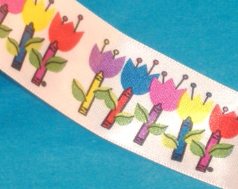 Colorful Crayon Tulips on White Satin Ribbon - 38mm Wide - 54 Inches Destash Piece