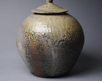 Clay Covered Jar Wood  Soda Fired L49