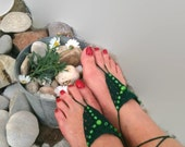 Dark green Barefoot Sandals, Nude shoes, Foot jewelry, Wedding, Victorian Lace, Sexy, Lolita, Yoga, Anklet