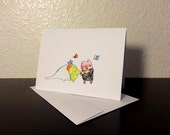 Valentine's Day Card Treetrunks and Mr. Pig Blank Card / Archival 4x6 inch watercolor print / nerd geek girl guy dork Adventure Time