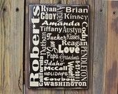 Family WORD or subway art sign, last name, established year and important wods/phrases/dates
