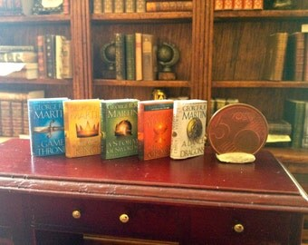 Dollhouse miniature George Martin books set - game of thrones
