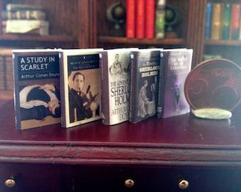 Dollhouse miniature Sherlock Holmes's  5 books