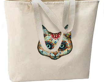 Sugar Skull Cat New Large Tote Bag Travel Events Day of the Dead