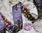 "sue spargo folkloric lilac floral 7/8"" jacquard ribbon trim - 1 yard"