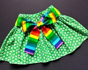 2T READY to SHIP Girls St. Patrick's Day Skirt: Green Clovers Shamrock Rainbow