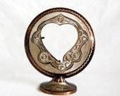 Eternal Love. Etched COPPER vintage PHOTO FRAME, Heart cutout, Handmade floral etching, folk art, display, Table shelf decor. Metal pedestal