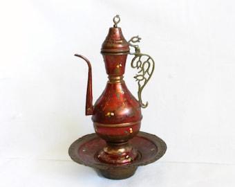 EWER PITCHER vintage copper SAUCER dish set, Crescent moon star finial, Decorative jug, Oriental home decor, Crimson red urn, Middle Eastern
