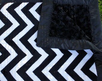 Black Chevron Minky Baby Blanket