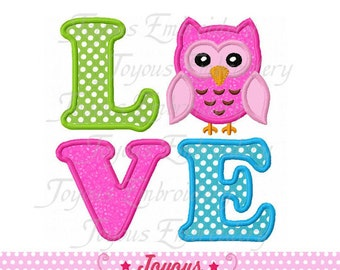 Instant Download Love Owl Applique Machine Embroidery Design NO:1424