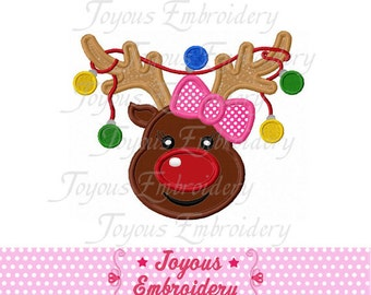 Instant Download Christmas Girl Reindeer  Applique Machine Embroidery Design NO:1436