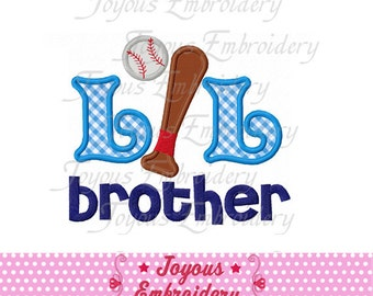 Instant Download little Brother With Baseball Embroidery Applique Design NO:1521