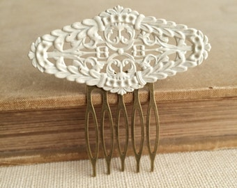 ivory hair comb, Art Deco Comb, ivory Bridal Comb, hair accessories, filigree, vintage inspired bridal hair accessories  enamel