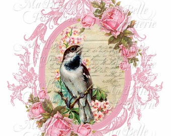 Lavender Sachet-DIY, Pink Roses with Bird and Vintage Frame-C6 Envelope-Digital Download