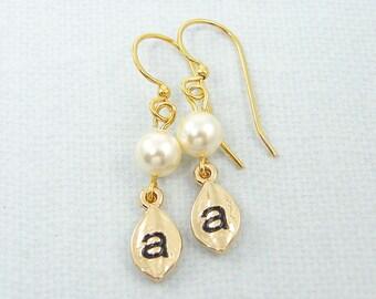 Personalized Earrings, White Pearl Earrings, Gold Leaf Earring, Gold Initial Earrings, Ivory Pearl Drop Earrings