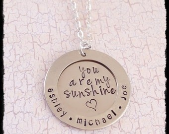 You Are My Sunshine Mom Necklace with Children's Names - Personalized and Hand-Stamped - Mother's Day Gift