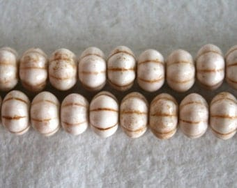 White Carved Pumpkin Magnesite Beads