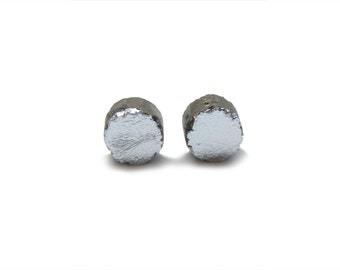 Silver and Concrete Round Earrings - Silver and Gray Cement Jewelry