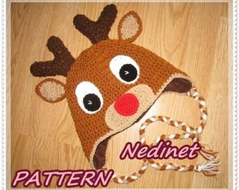 Rudolph the reindeer crochet hat pattern, crochet christmas hat pattern, x-mas hat pattern, rudolp crochet hat pattern, child hat pattern,