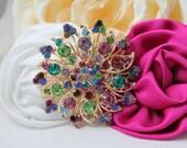 Rhinestone Brooch - Peacock Wedding - Jewel tone Wedding - Jewel tones - Vintage Style - Wedding Bouquet - Sash Pin