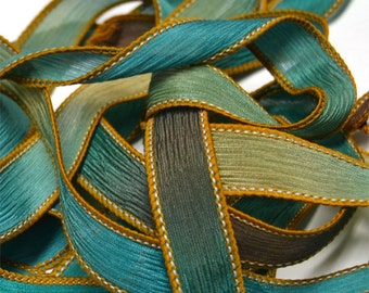"""Jamaican 42"""" hand dyed wrist wrap bracelet silk ribbon//Yoga wrist wrap bracelet ribbons//Silk wrist wrap ribbon// By Color Kissed Silk"""