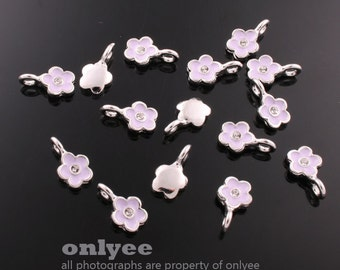 4Pcs -11mmX6mm Rhodium Plated over Brass Daisy with Lilac Enamel Charms Pendant(K562S-C)