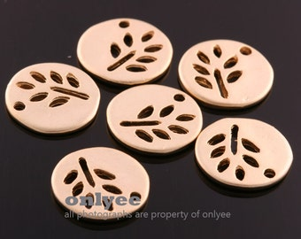 4pcs-12mm x12mm Matte Gold plated Brass round disc circle leaf silhouette charms / disc charms (K664G)