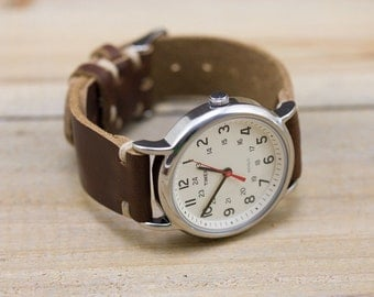 Leather Watch Strap // Horween Leather Tan Chromexcel // Thumbnail Buckle