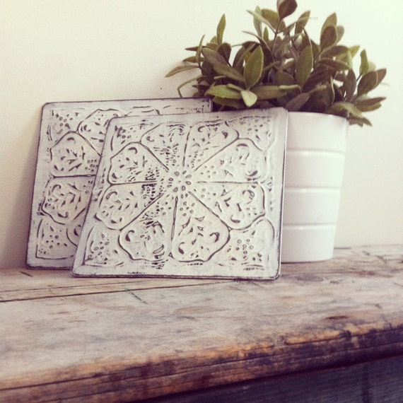 Wall Decor Sets Of 2 : White distressed tin wall decor set of by emilymichelleic