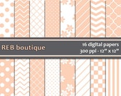 Digital Paper - Peach, orange, white, pastel, flowers, dots, polka dots, chevron, stripes, checker, quatrefoil, paper pack, scrapbooking 67