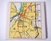 1981 Salem Oregon Map Coaster - Ceramic - Repurposed 1981 Readers Digest Atlas page