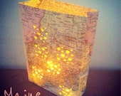 Custom City Set, 1 Large 1 Small, You Pick the Country, City or State, Map Luminaries, Moving Gift, Travel Keepsake, Housewarming