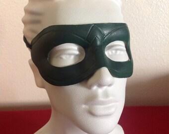 Handmade Leather Green Arrow Mask