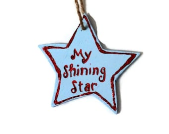 Rustic Christmas ornament, wooden star