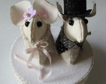 Lovely mice couple handmade wedding cake topper decor