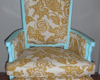 PAIR of Vintage aqua and yellow chairs