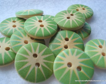 18mm Wooden Buttons, Cream with Green Star Burst Print Buttons, Pack of 15 Wooden Buttons, W1801a