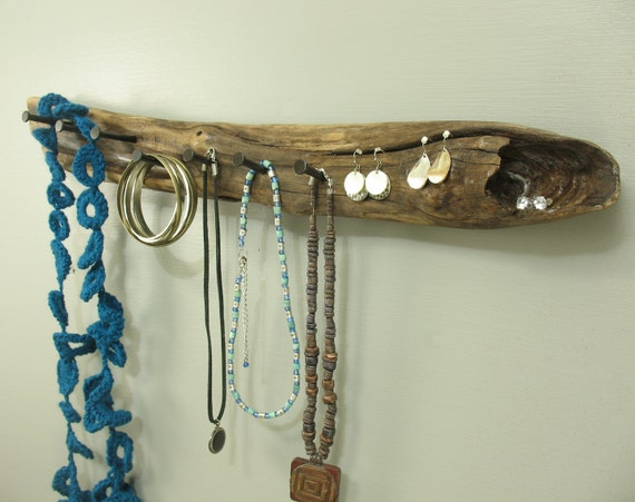 Wall Mounted Driftwood Jewelry Holder Rustic Drift Wood Key