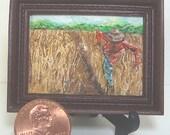 Miniature 1:12 Scale Handmade Original Oil Painting for Collectors / Dollhouse Artwork / Fridge Magnet / Fine Art / Scarecrow in Corn Field