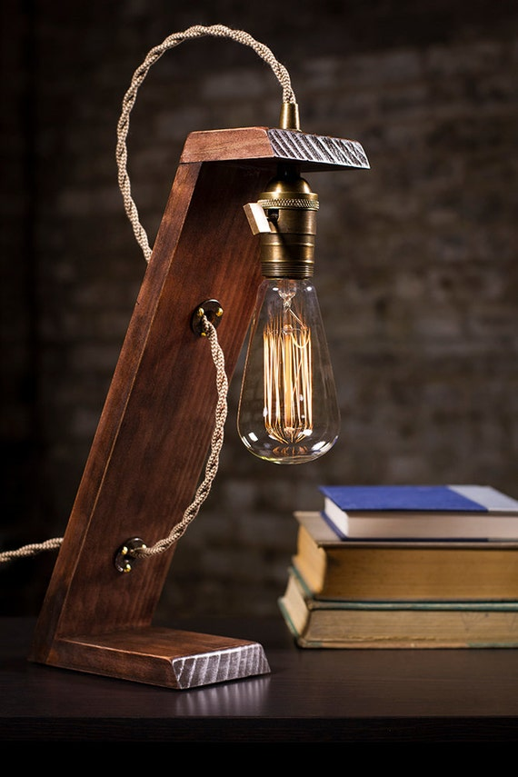Wooden Edison Table Lamp | Limited Sale | Desk Lamp | Bed Light | Night  Light | Lamp | Industrial | Edison Bulb - Wooden Edison Table Lamp Limited Sale Desk Lamp Bed
