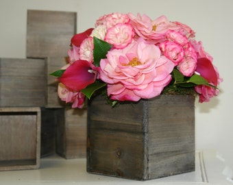 Natural birch bark wood vases wedding flower pot bridal - Wooden containers for flowers ...