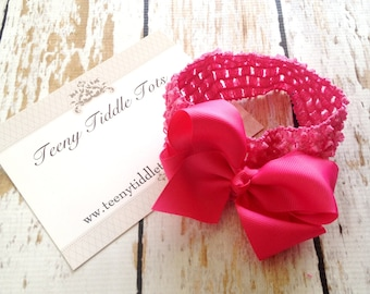 Baby Headband, Hot Pink Bow Headband, Baby Girl Headbands, Newborn Headband, Infant Headband, Photo Prop