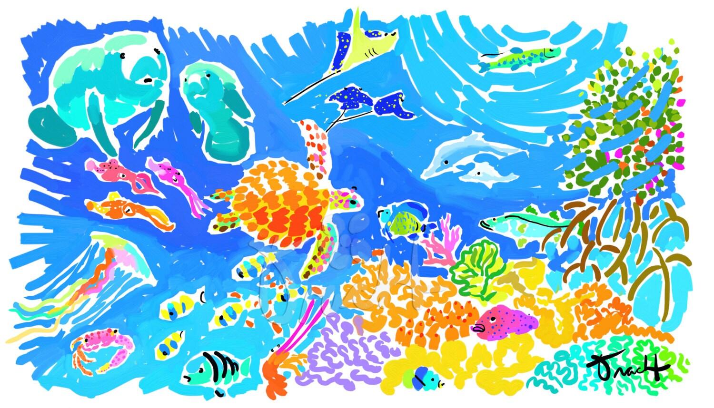 art print 16x20 coral reef tropical fish manatees jellyfish