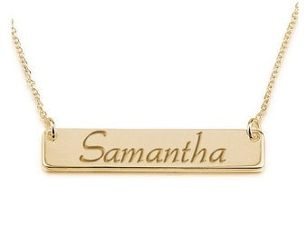 "RESERVED: Sideways 1"" bar Personalized Name Necklace 18k Gold -"
