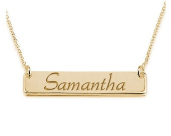 Personalized Name Necklace 18k Gold - Name Bar Choose Any Name